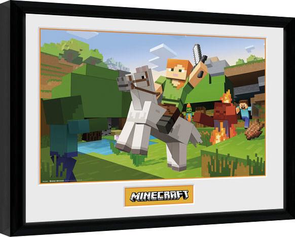 Oprawiony plakat Minecratf - Zombie Attack