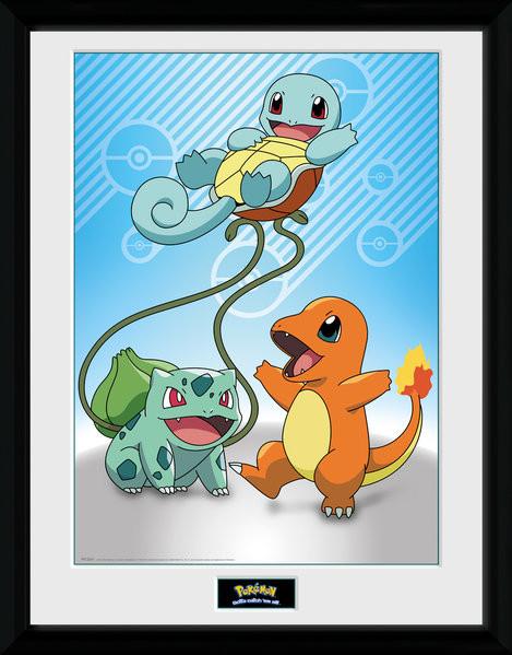 Zarámovaný plakát Pokemon - Kanto Starter
