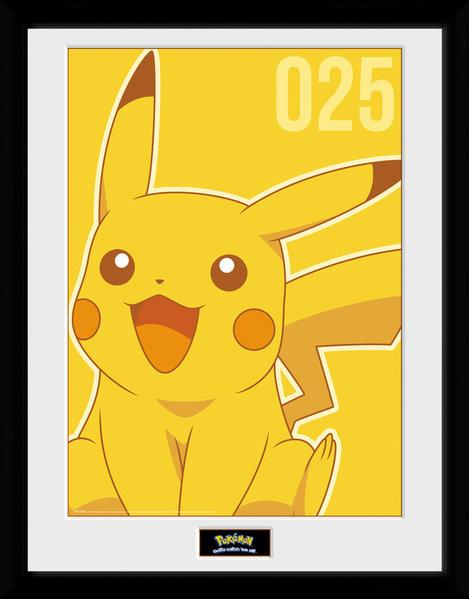 Zarámovaný plakát Pokemon - Pikachu Mono