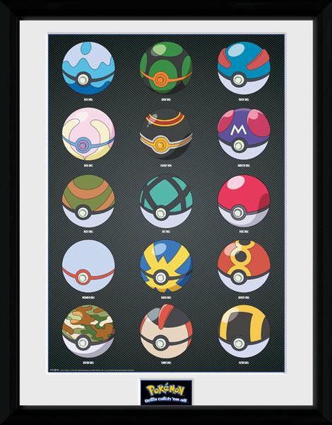 Zarámovaný plakát Pokemon - Pokeballs