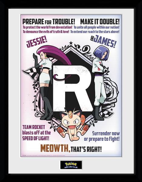 Zarámovaný plakát Pokemon - Team Rocket
