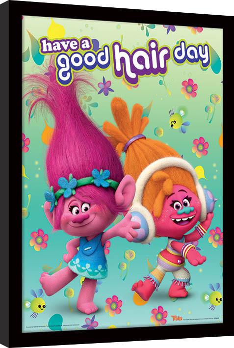 Zarámovaný plakát Trollové - Have A Good Hair Day