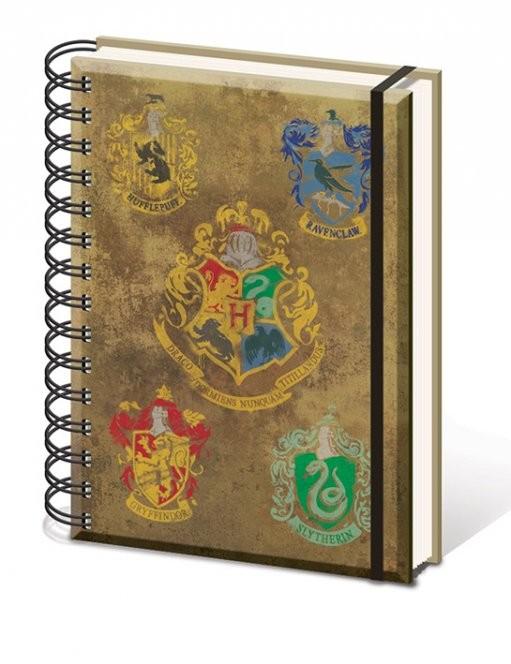 Harry Potter - Hogwart's Crests A5 notebook  Olovka