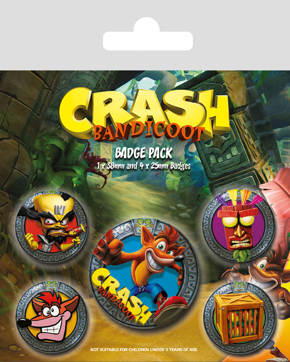 Paket značaka Crash Bandicoot - Pop Out