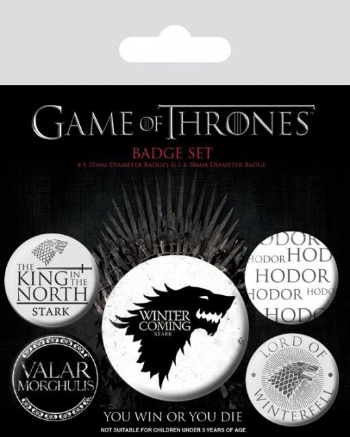 Paket značaka Game of Thrones - Winter is Coming