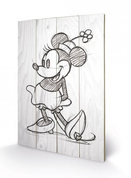 Minni (Minnie Mouse) - Sketched - Single Panneau en bois