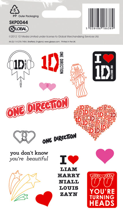 ONE DIRECTION - hearts with glitter pegatina