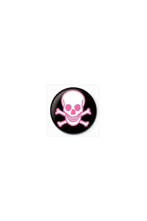 Pin - SKULL - lebka ružová
