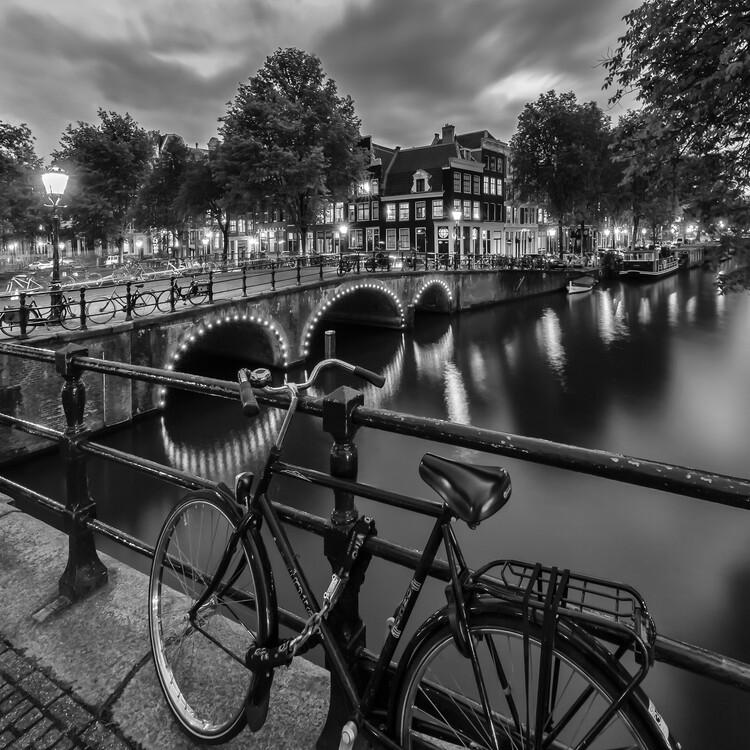 Cuadros en Lienzo AMSTERDAM Evening impression from Brouwersgracht