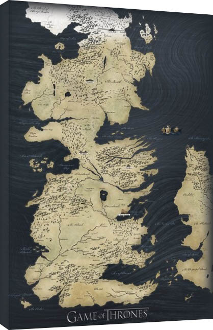 Pinturas sobre lienzo  El mapa de Juego de Tronos