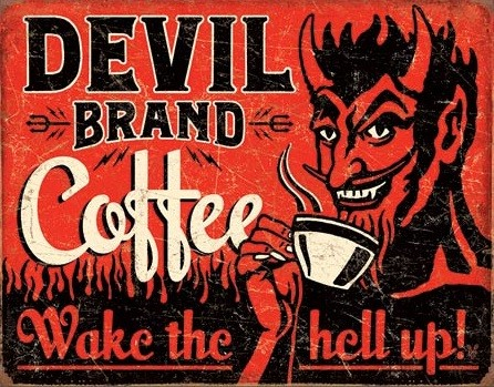 Devil Brand Coffee Placă metalică