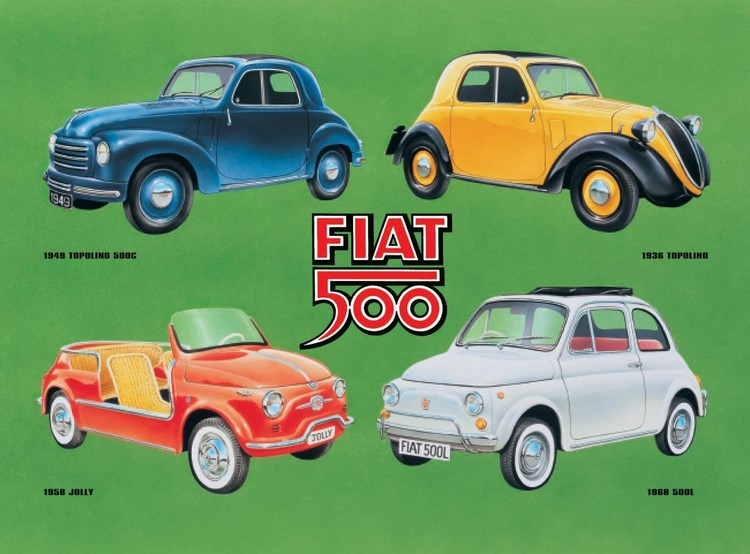 FIAT 500 COLLAGE Placă metalică