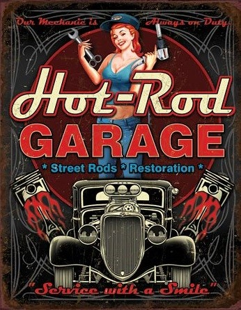 Placă metalică Hot Rod Garage - Pistons