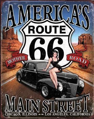 Placă metalică ROUTE 66 - America's Main Street