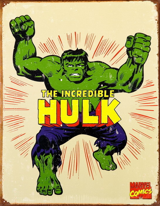 VINTAGE THE HULK Placă metalică