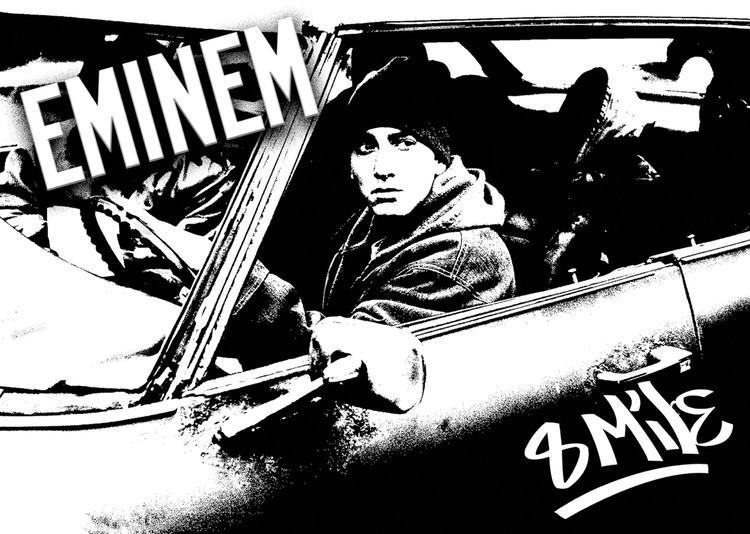 Plagát 8 MILE - Eminem car b&w