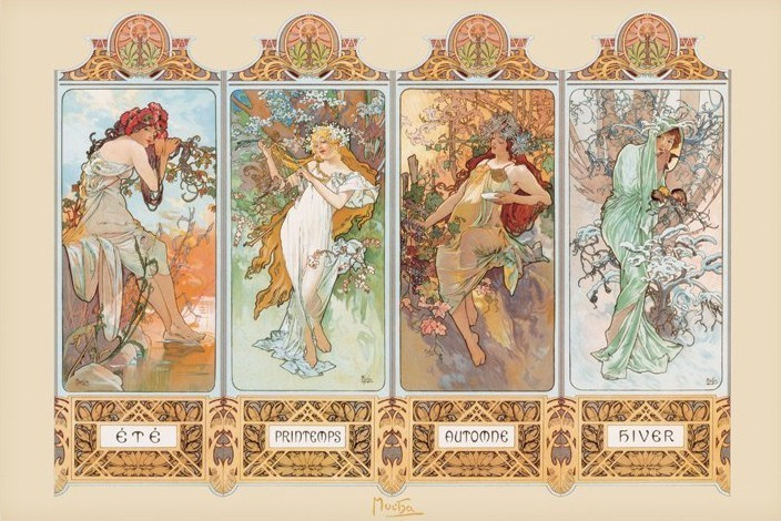 Plagát Alfons Mucha – four seasons