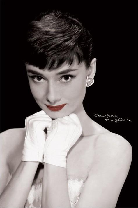 Plagát Audrey Hepburn - red lips