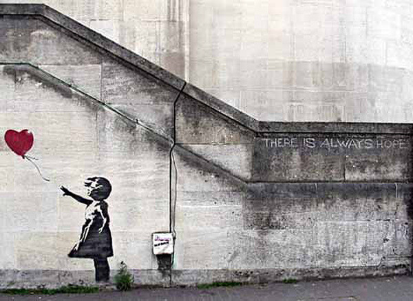 Plagát  Banksy Street Art - Girl with Red Balloon Hope