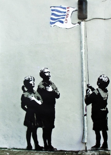 Plagát Banksy street art - Graffiti Tesco Flag