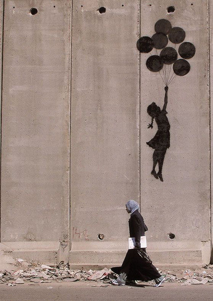 Plagát Banksy street art - Graffiti Westbank Balloons