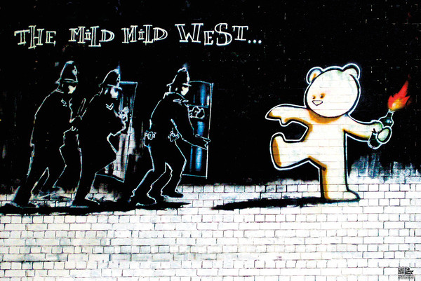 Plagát Banksy Street Art - Mild Mild West