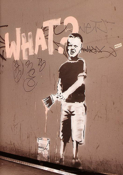 Plagát Banksy street art - what? graffiti