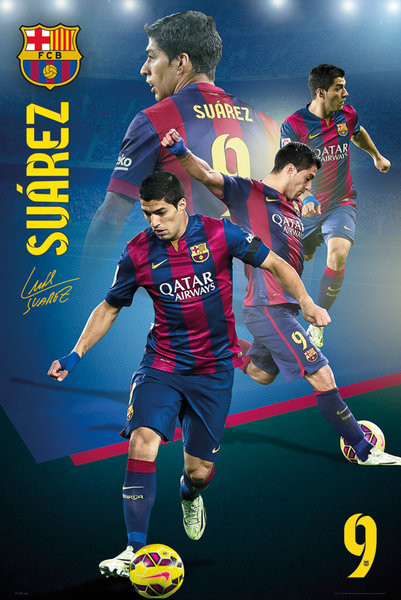 Plagát Barcelona - Suarez Collage 14/15