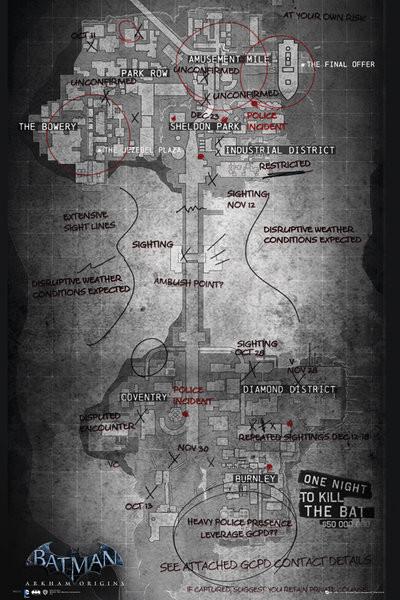 Plagát Batman Origins Gaming Map