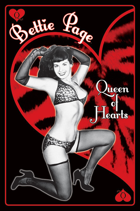 Plagát Bettie Page - queen of hearts