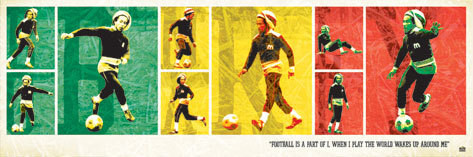 Plagát Bob Marley - football