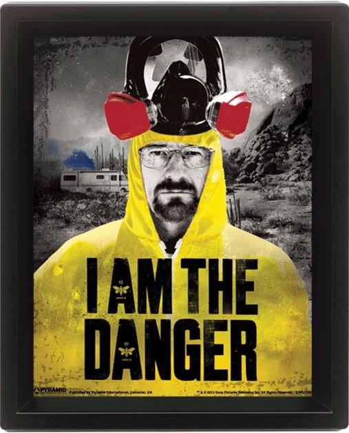 Breaking Bad (Perníkový tatko) - I am the danger - 3D plagát s rámom