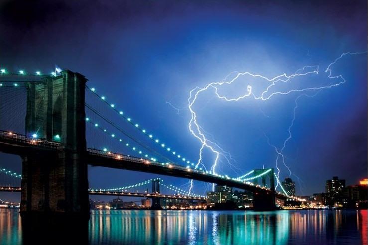 Plagát Brooklyn bridge - lightning