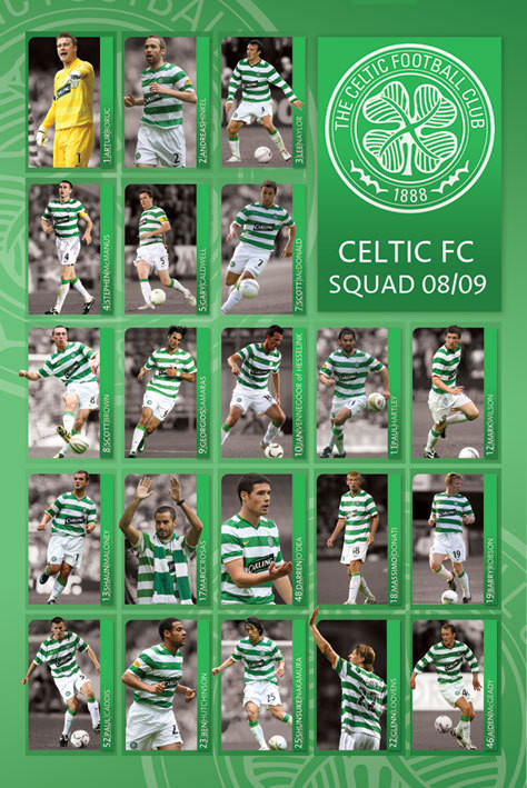 Plagát  Celtic - squad 2008/2009