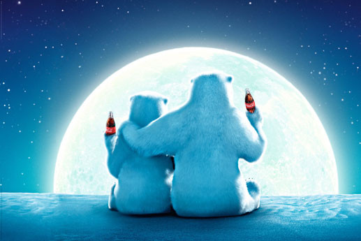Plagát Coca Cola - polar bear moon