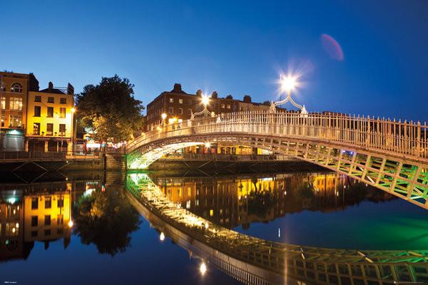 Plagát Dublin - Halfpenny Bridge Landscape