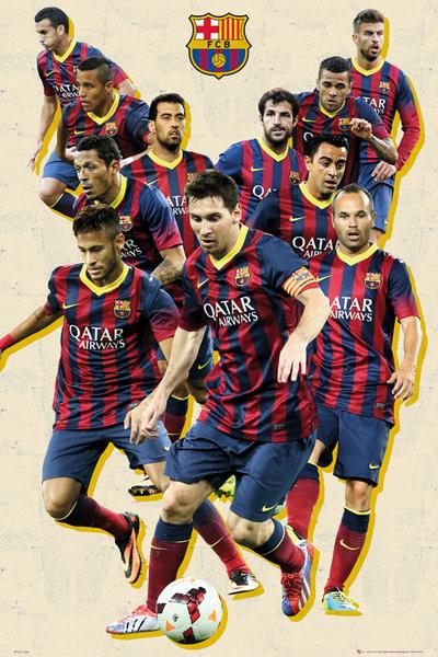 Plagát FC Barcelona - players vintage