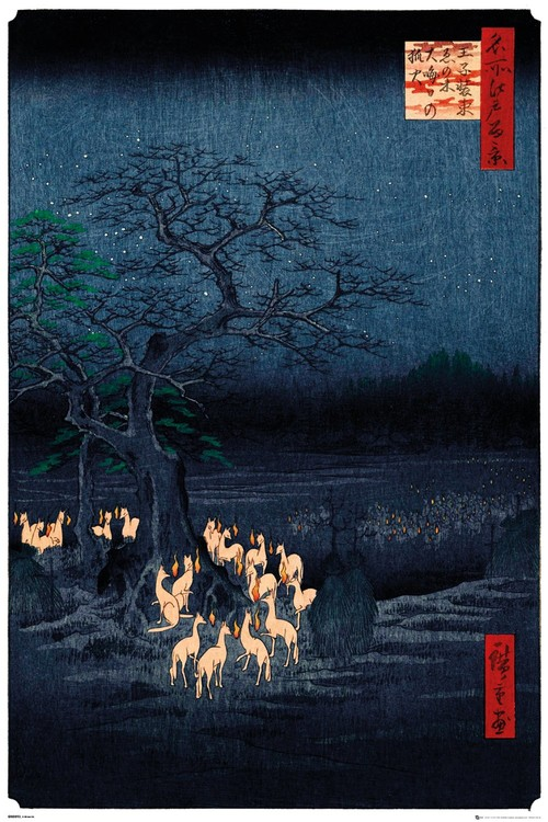 Plagát  Hiroshige - New Years Eve Foxfire