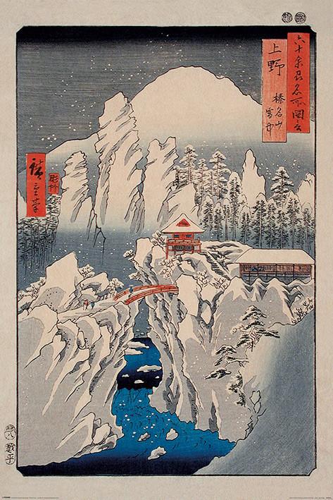 Plagát Hiroshige - Snow on Mount Haruna