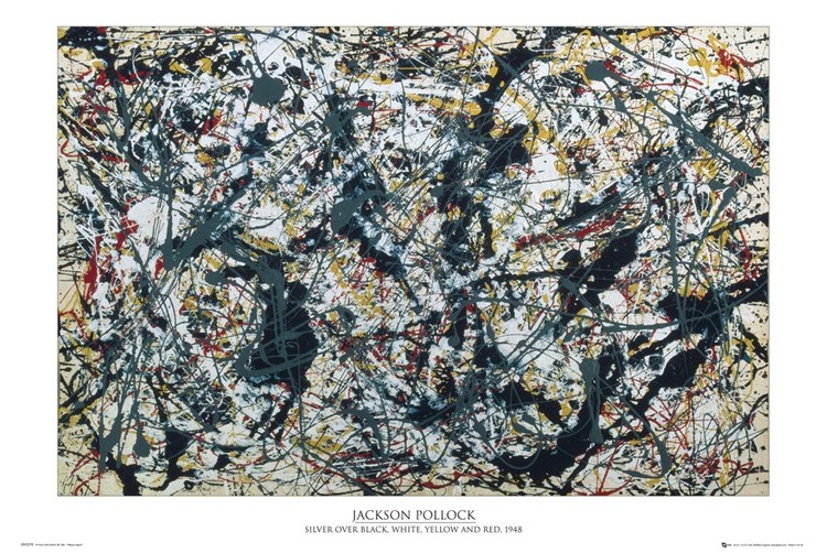 Plagát Jackson Pollock - silver on black