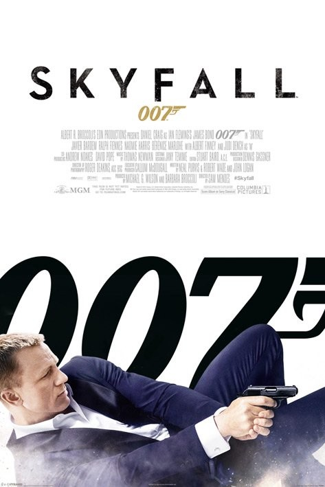 Plagát JAMES BOND 007 - skyfall one sheet white