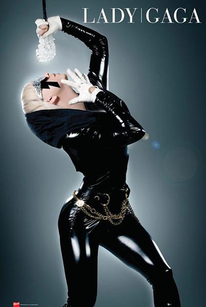 Plagát Lady Gaga - in a sexy latex dress