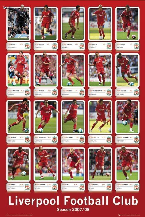 Plagát Liverpool - squad profiles 07/08