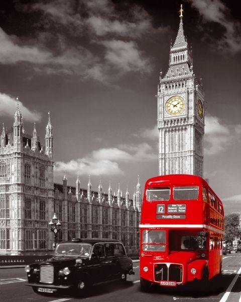 Plagát Londýn - big ben / bus