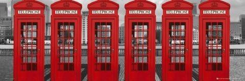 Plagát Londýn - phoneboxes