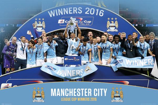 Plagát Manchester City FC - League Cup Winners 15/16