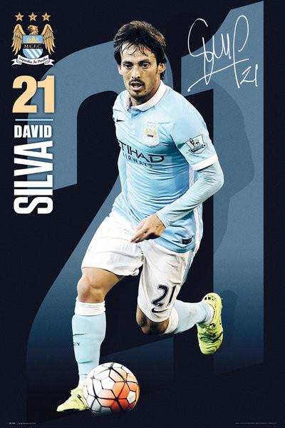 Plagát Manchester City FC - Silva 15/16