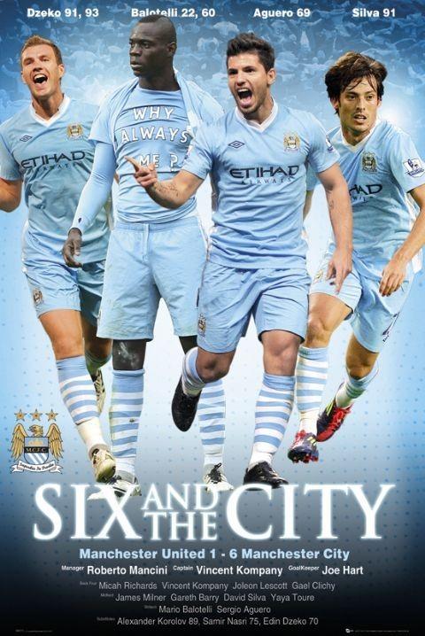 Plagát Manchester City - six-one