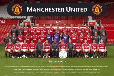 Plagát Manchester United - Team photo 10/11
