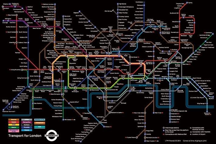 Plagát Mapa Londýnskeho metra - čierná
